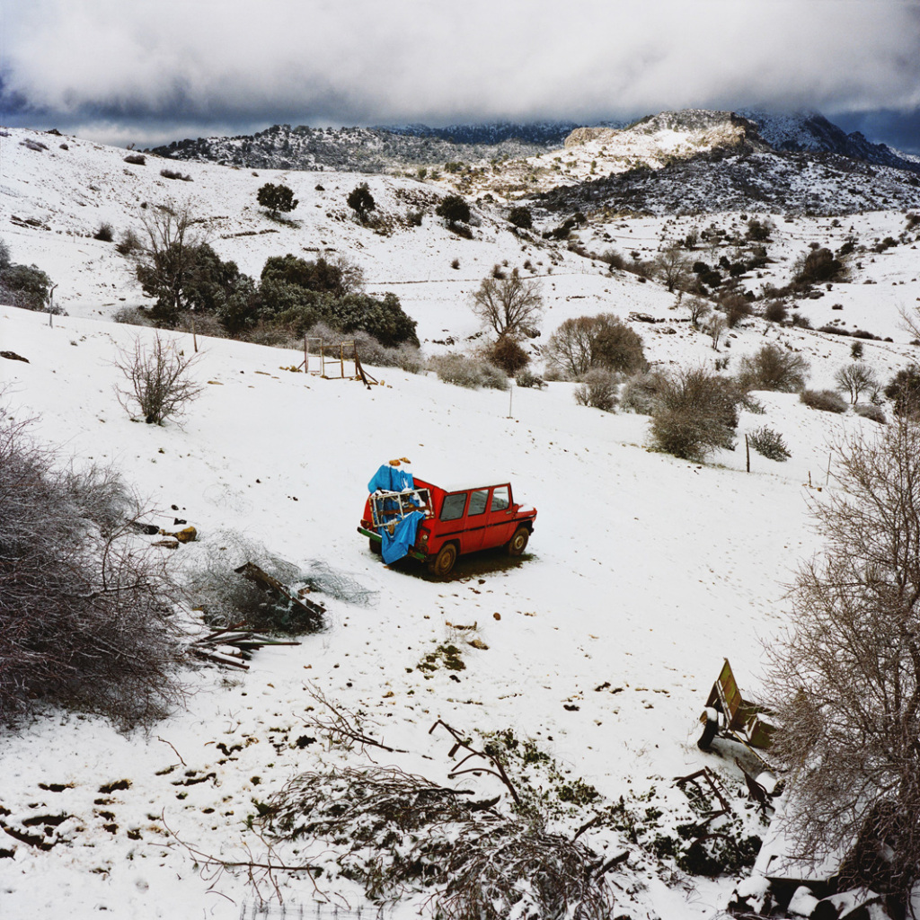 Landscape with a red car, Sierra de Cazorla, Spain, 2013.