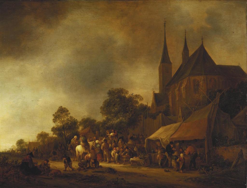 A Village Fair, with a Church behind